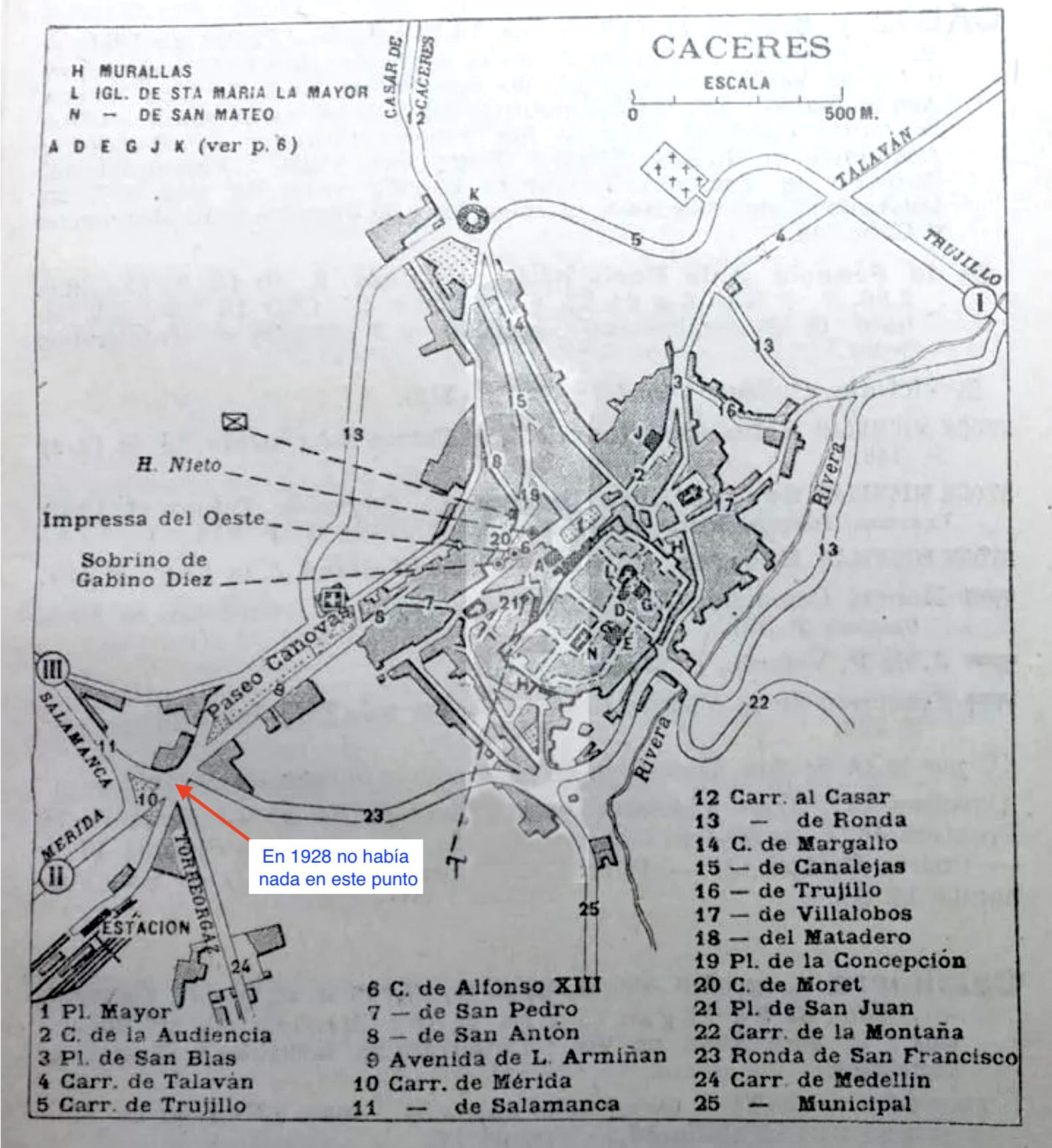 Plano de Cáceres de 1928