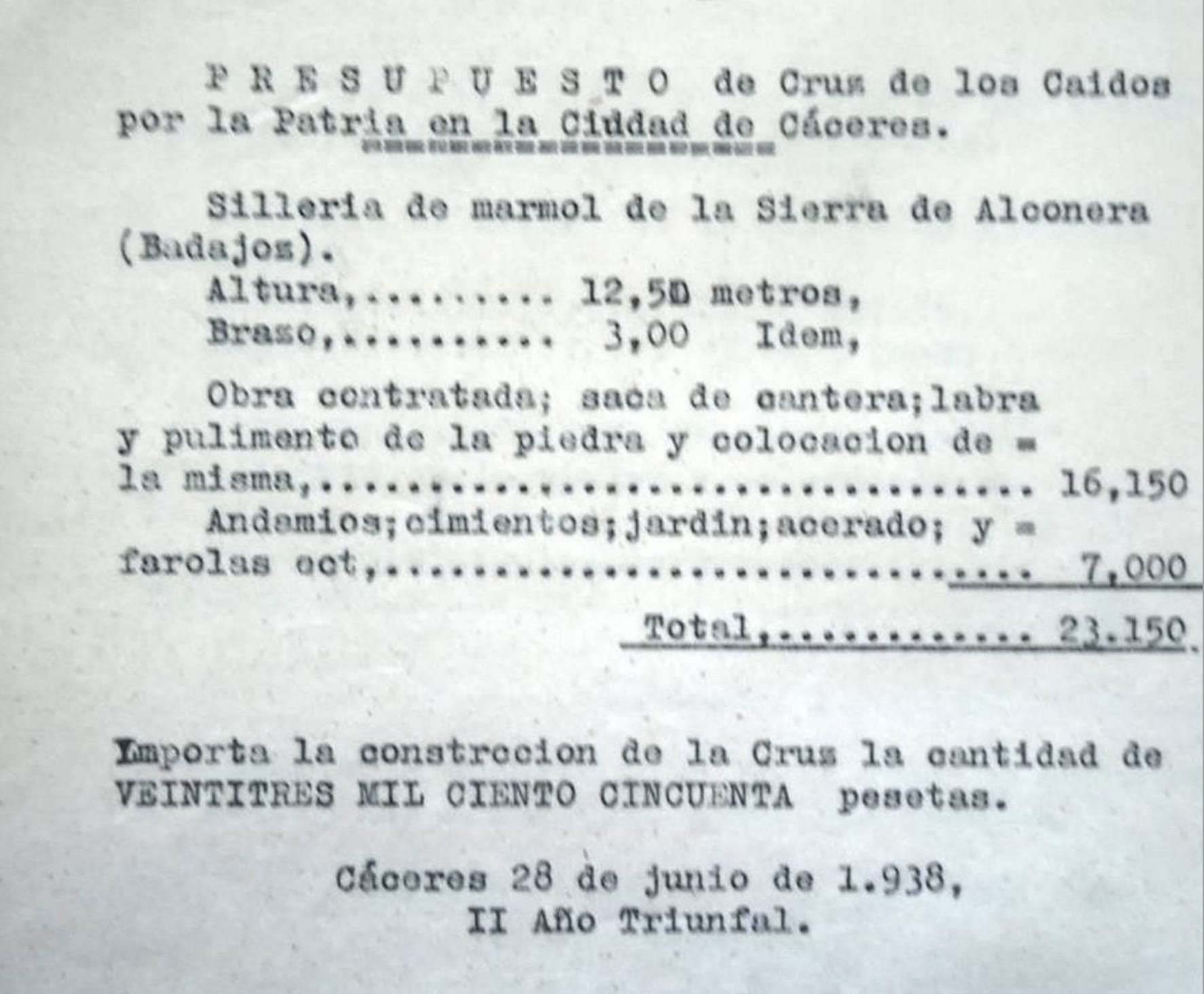 1937 - Presupuesto de marmol