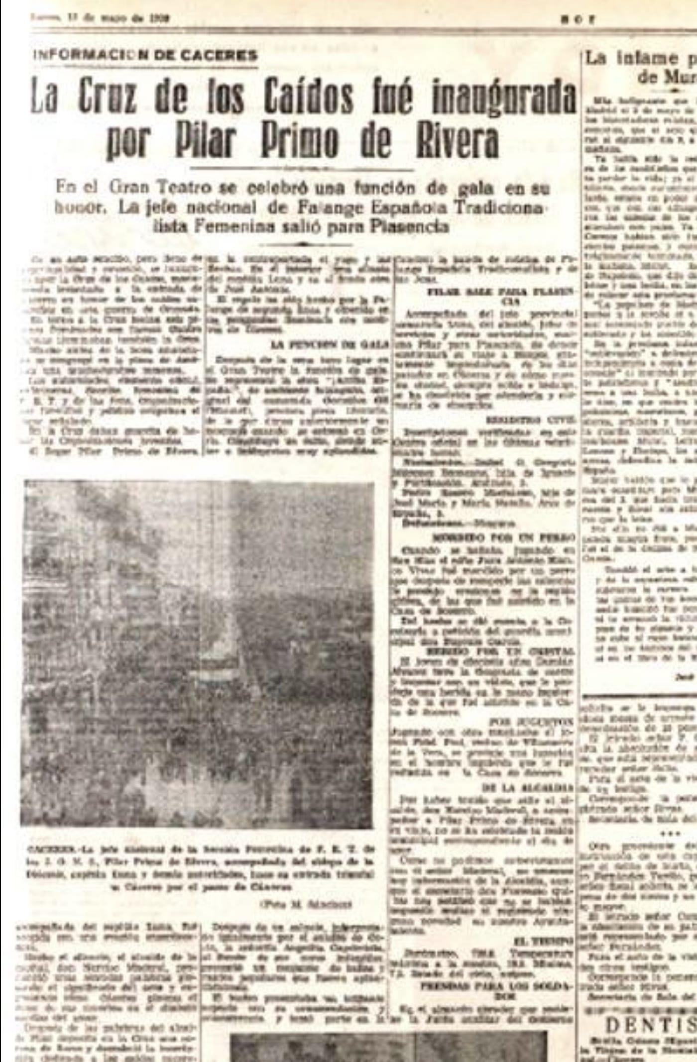 1938-05-12 - Noticia de la inauguración de la Cruz de los Caídos de Cáceres