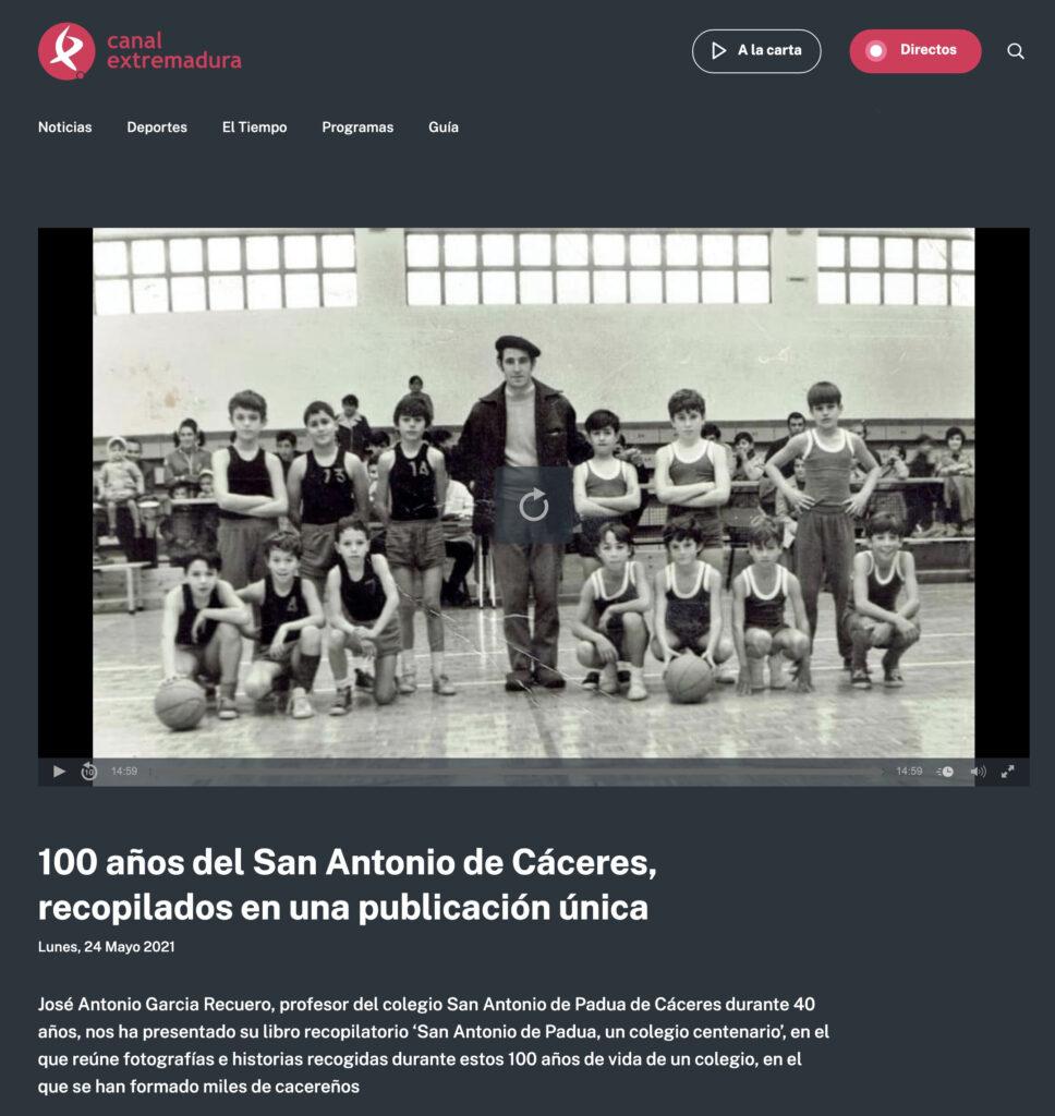 Entrevista en Canal Extremadura a Jose Antonio Garcia Recuero